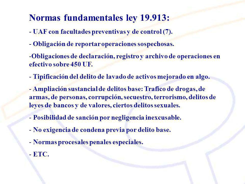 Normas fundamentales ley 19.913: