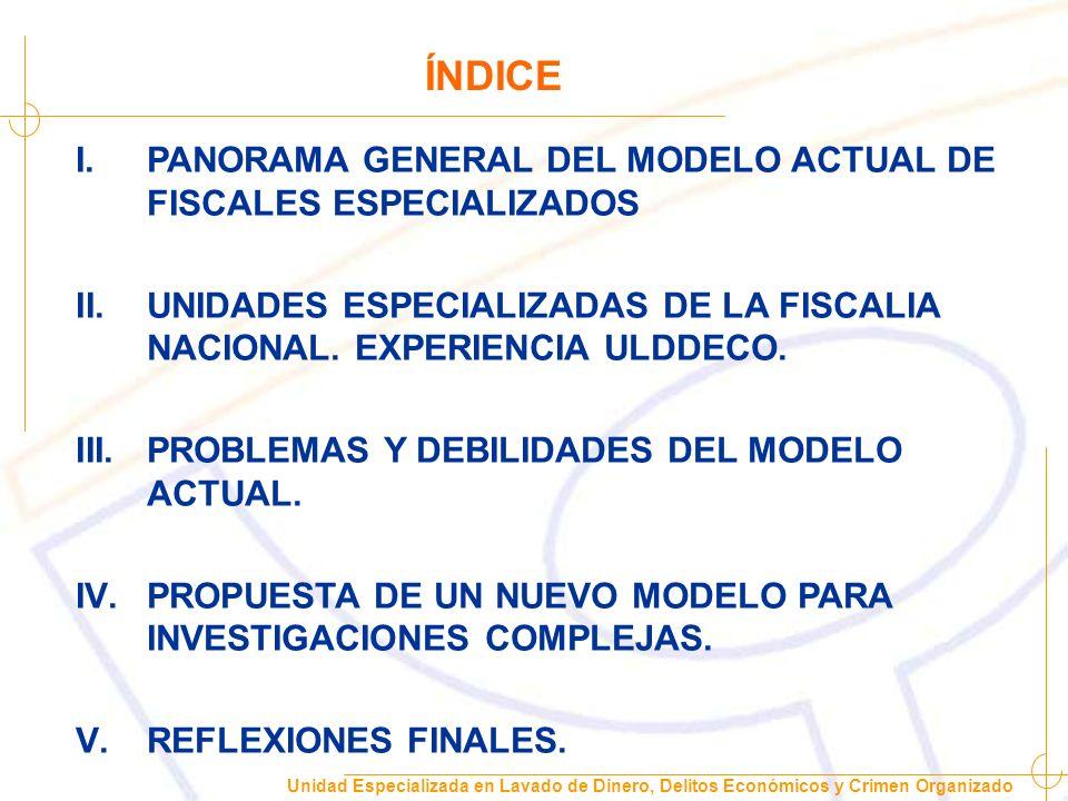 ÍNDICE PANORAMA GENERAL DEL MODELO ACTUAL DE FISCALES ESPECIALIZADOS