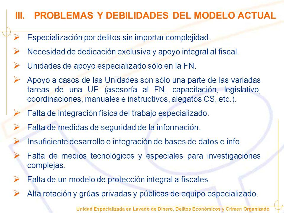 III. PROBLEMAS Y DEBILIDADES DEL MODELO ACTUAL