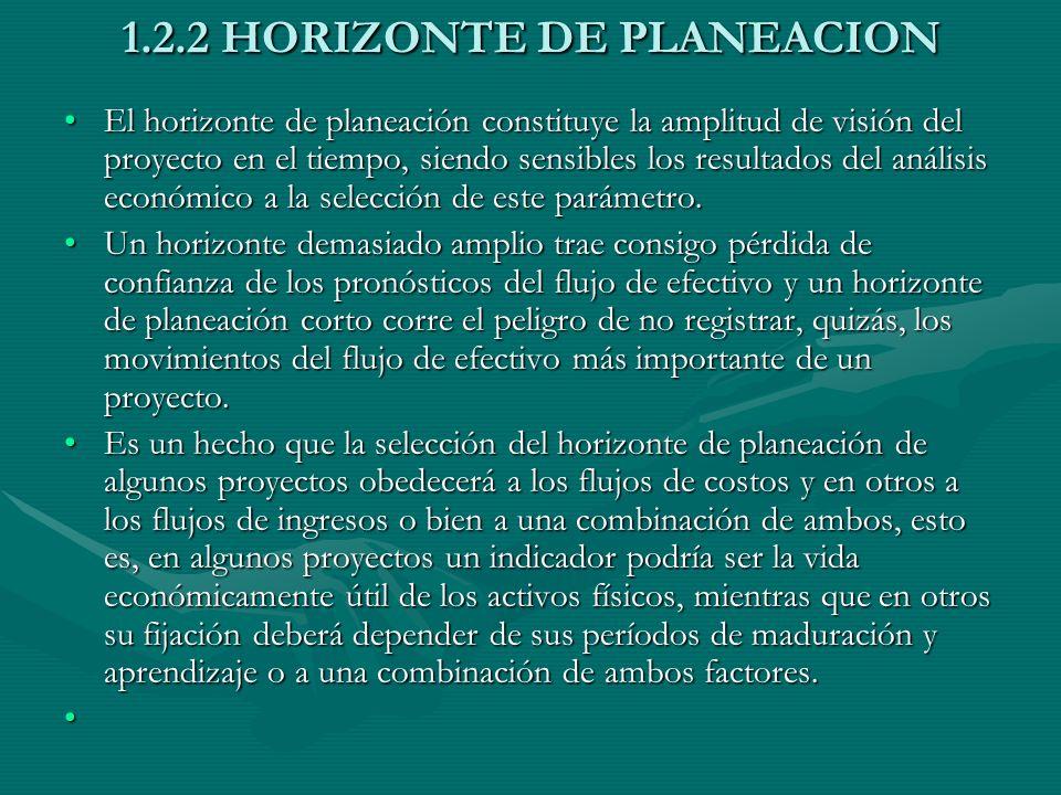 1.2.2 HORIZONTE DE PLANEACION