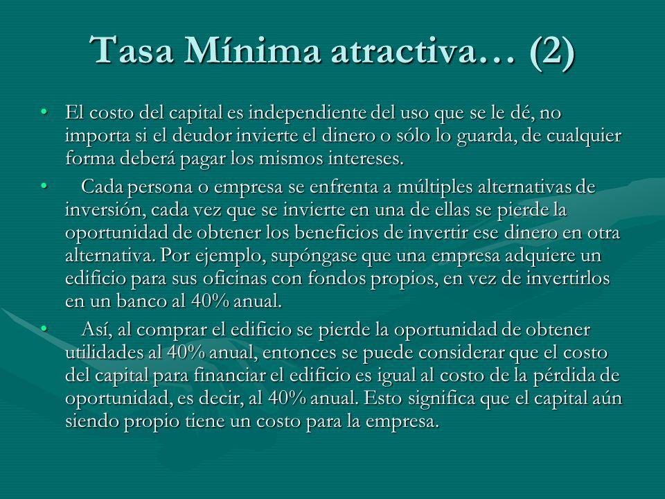Tasa Mínima atractiva… (2)