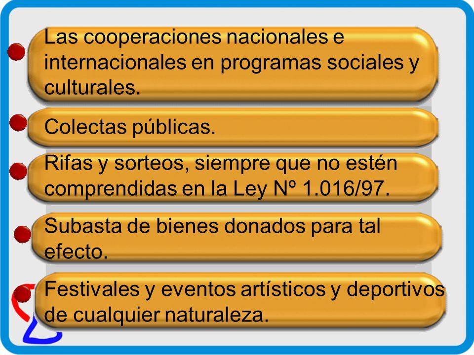 Las cooperaciones nacionales e internacionales en programas sociales y culturales.