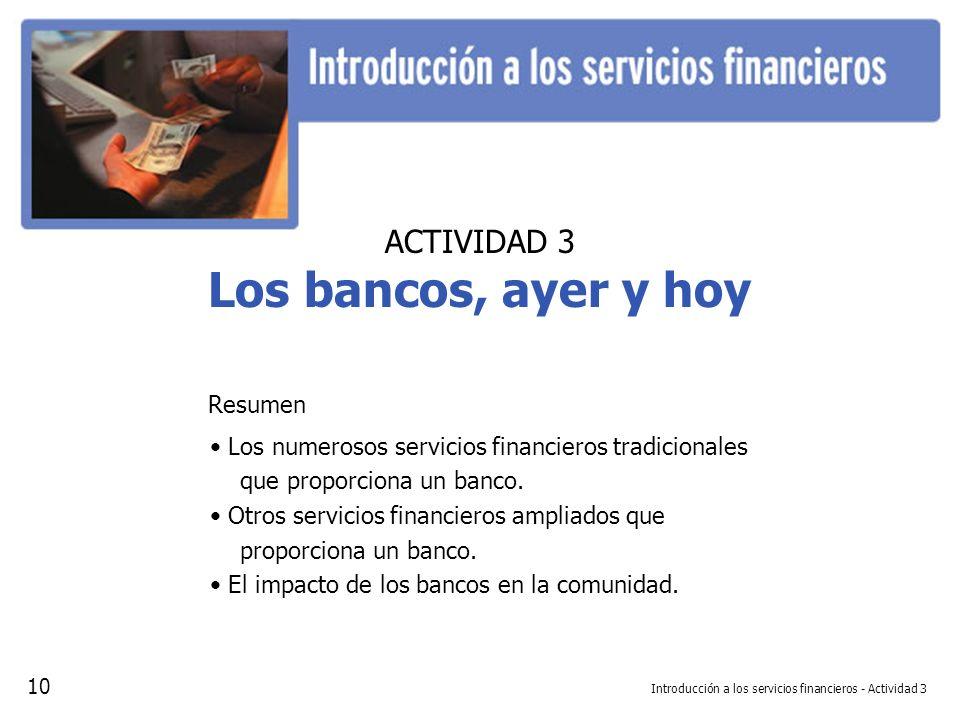 Introducción a los servicios financieros - Actividad 3