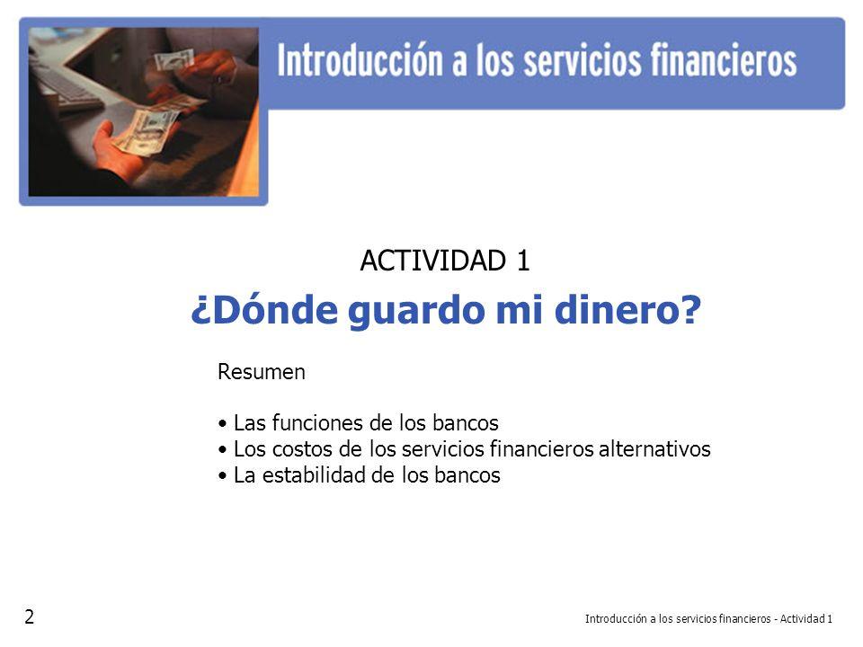 Introducción a los servicios financieros - Actividad 1