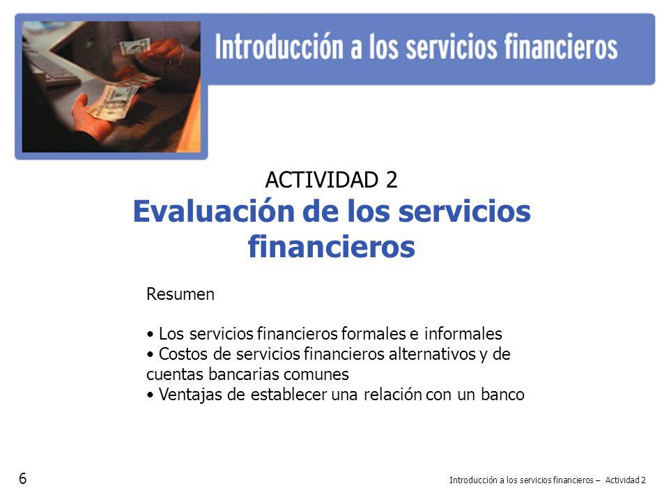 ACTIVIDAD 2 Evaluación de los servicios financieros