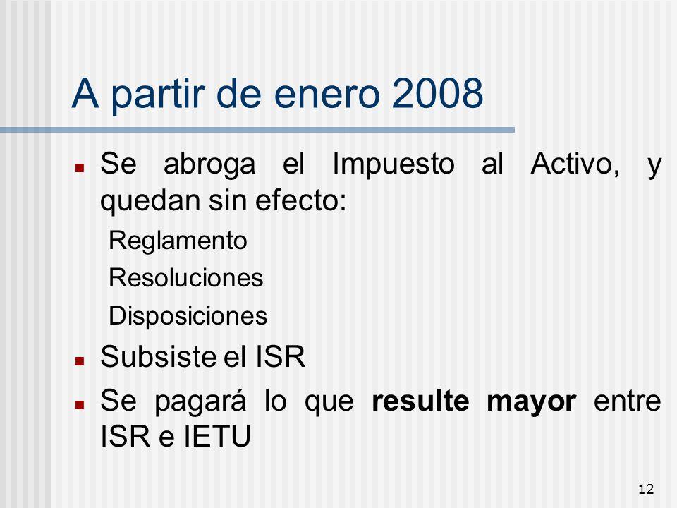 A partir de enero 2008Se abroga el Impuesto al Activo, y quedan sin efecto: Reglamento. Resoluciones.