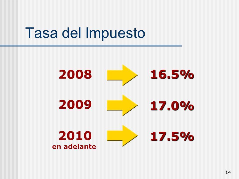 Tasa del Impuesto 2008 16.5% 2009 17.0% 2010 en adelante 17.5%