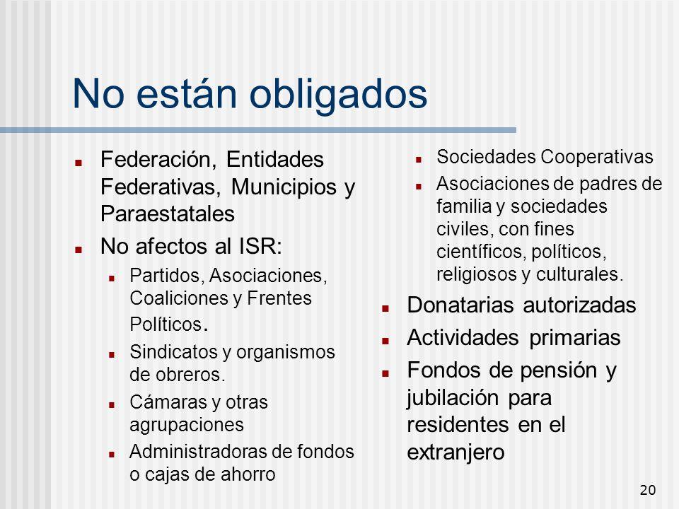 No están obligados Federación, Entidades Federativas, Municipios y Paraestatales. No afectos al ISR: