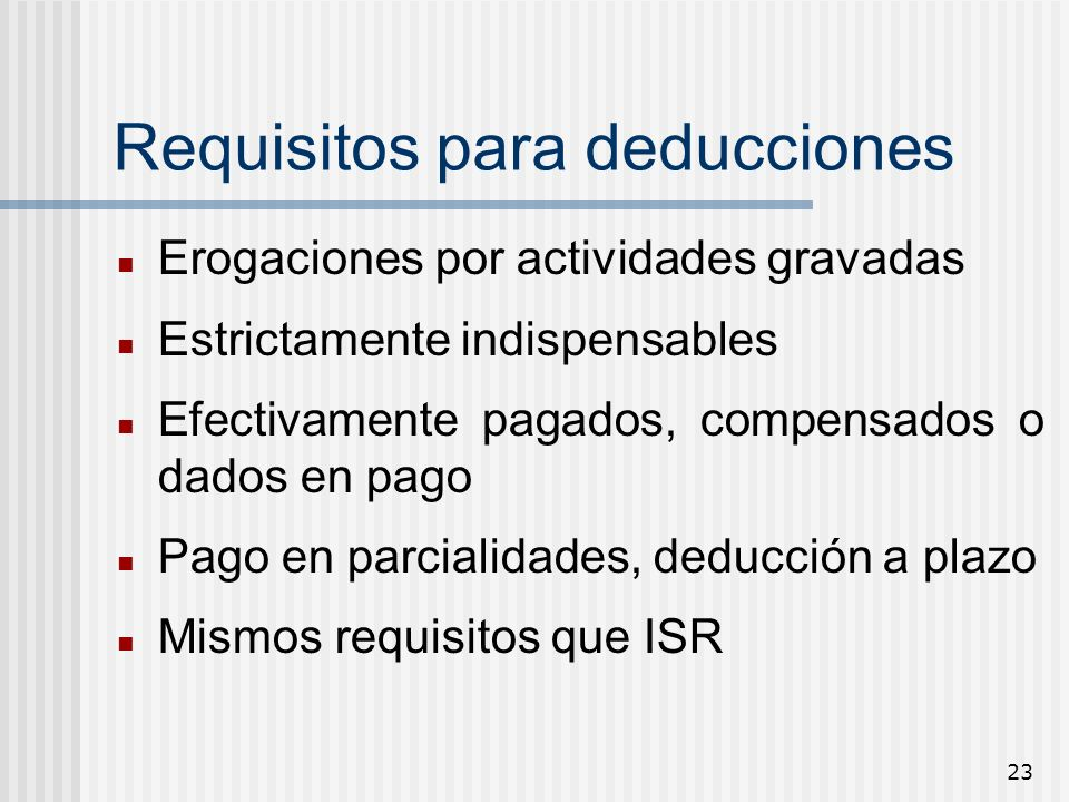 Requisitos para deducciones