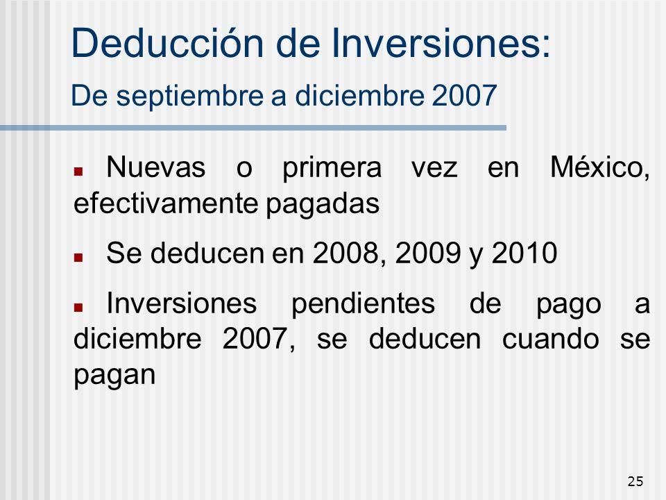 Deducción de Inversiones: De septiembre a diciembre 2007