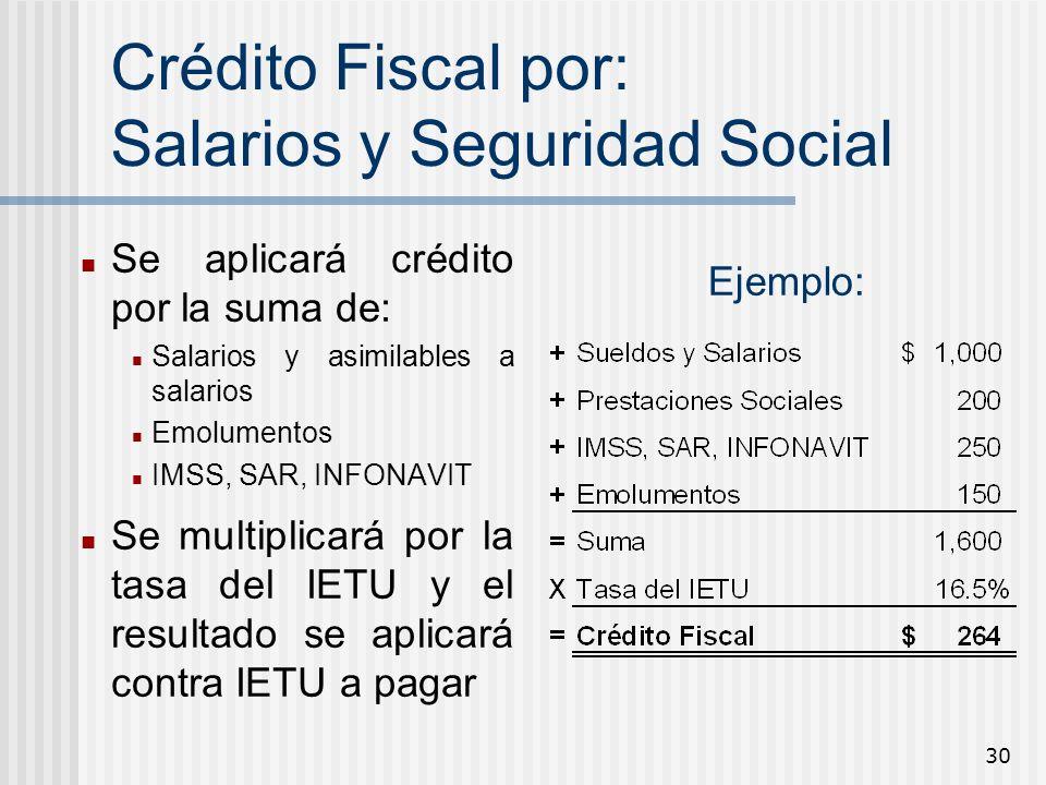 Crédito Fiscal por: Salarios y Seguridad Social