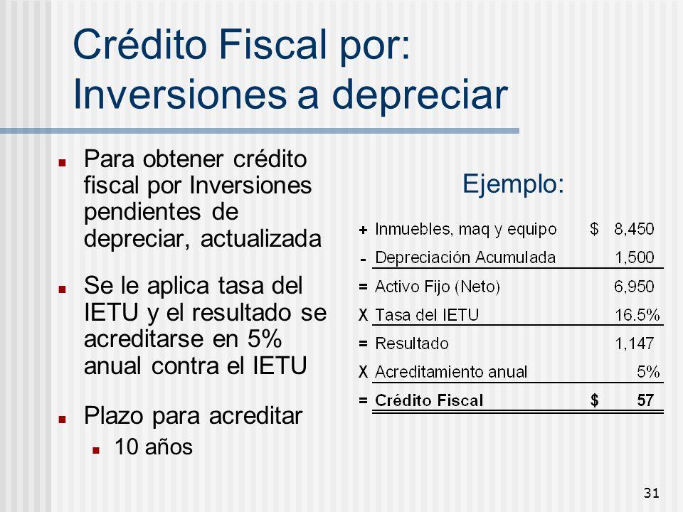 Crédito Fiscal por: Inversiones a depreciar