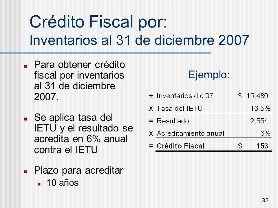 Crédito Fiscal por: Inventarios al 31 de diciembre 2007