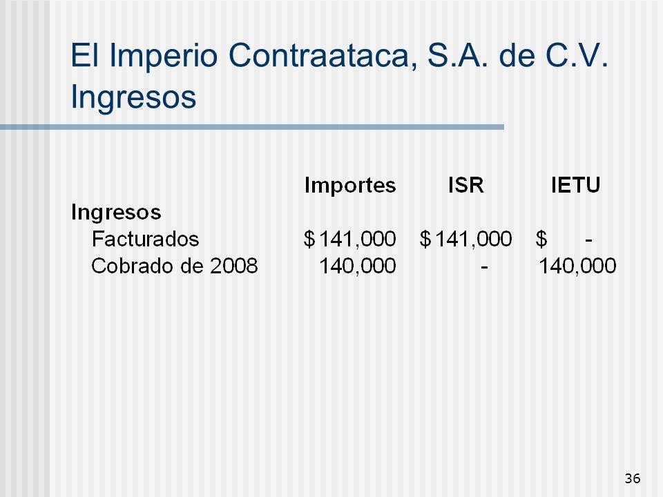 El Imperio Contraataca, S.A. de C.V. Ingresos
