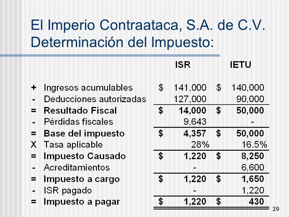 El Imperio Contraataca, S.A. de C.V. Determinación del Impuesto: