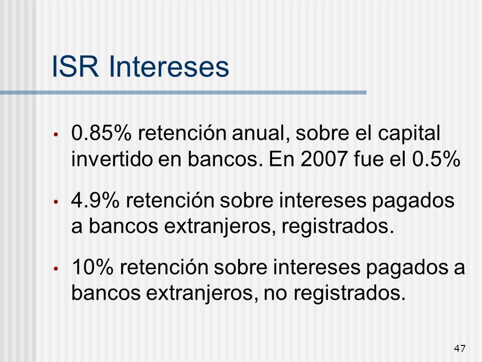 ISR Intereses0.85% retención anual, sobre el capital invertido en bancos. En 2007 fue el 0.5%