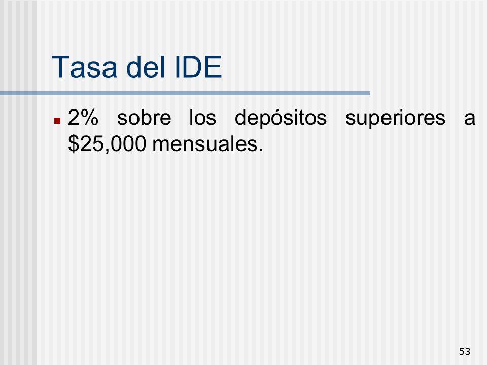 Tasa del IDE 2% sobre los depósitos superiores a $25,000 mensuales.