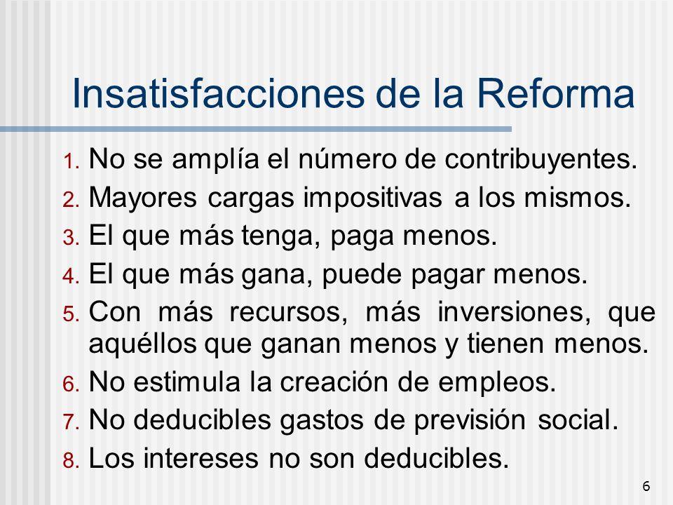 Insatisfacciones de la Reforma