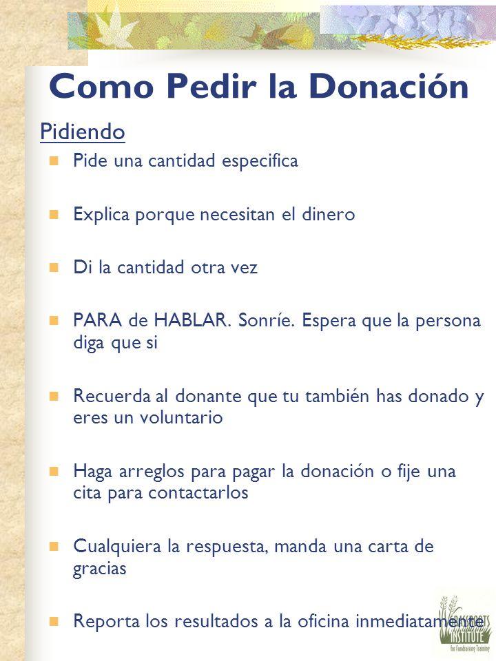 Como Pedir la Donación Pidiendo Pide una cantidad especifica