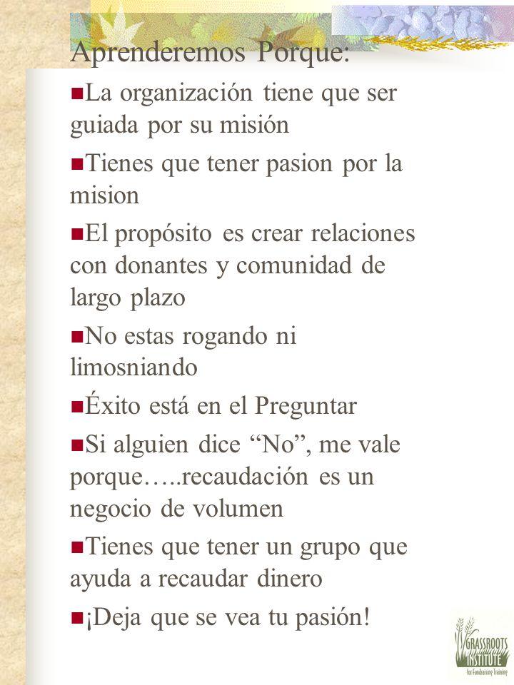 Aprenderemos Porque: La organización tiene que ser guiada por su misión. Tienes que tener pasion por la mision.
