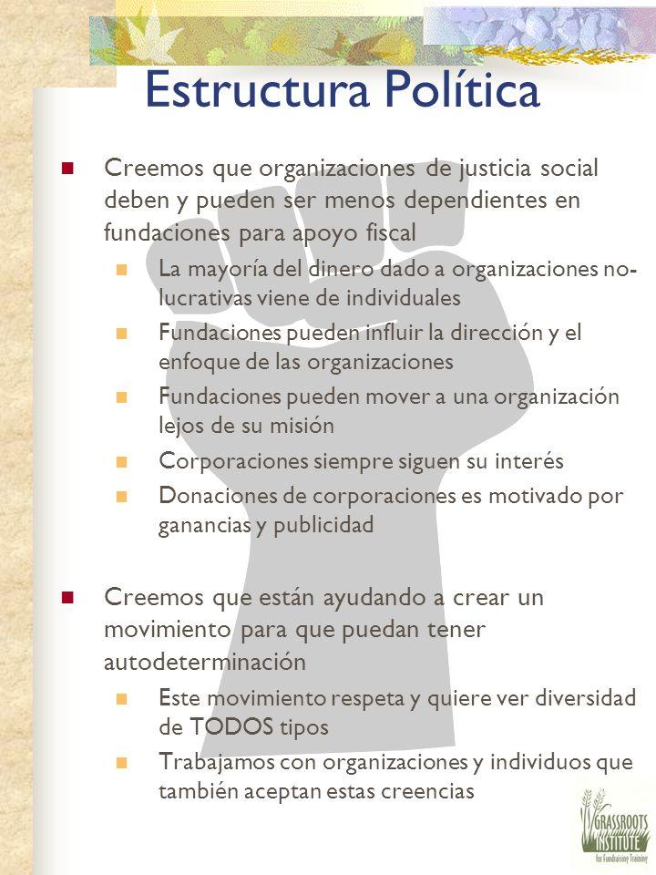 Estructura Política Creemos que organizaciones de justicia social deben y pueden ser menos dependientes en fundaciones para apoyo fiscal.