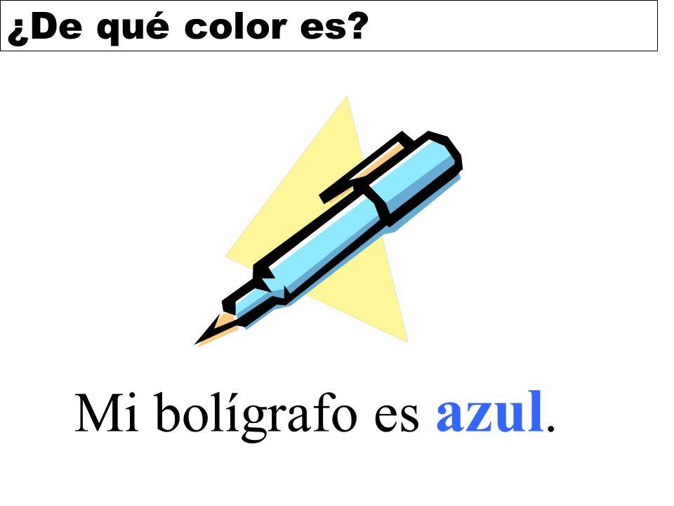 Mi bolígrafo es azul.
