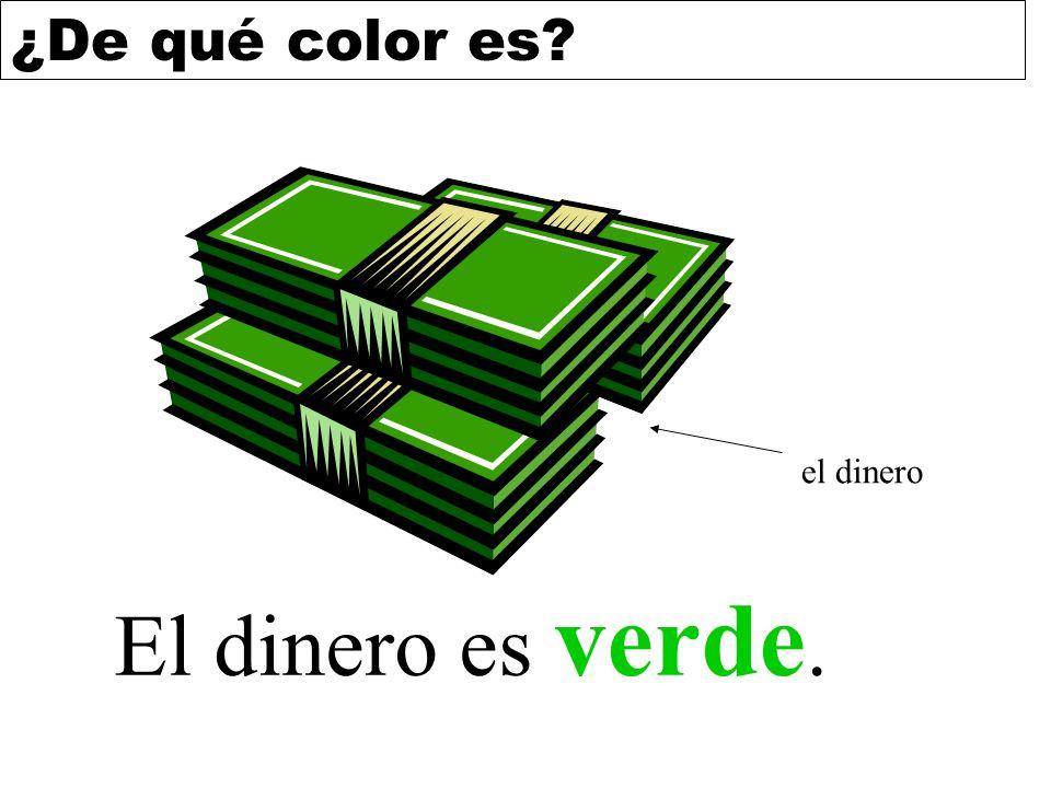 el dinero El dinero es verde.
