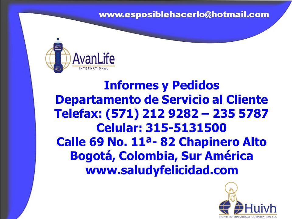 Departamento de Servicio al Cliente Telefax: (571) 212 9282 – 235 5787