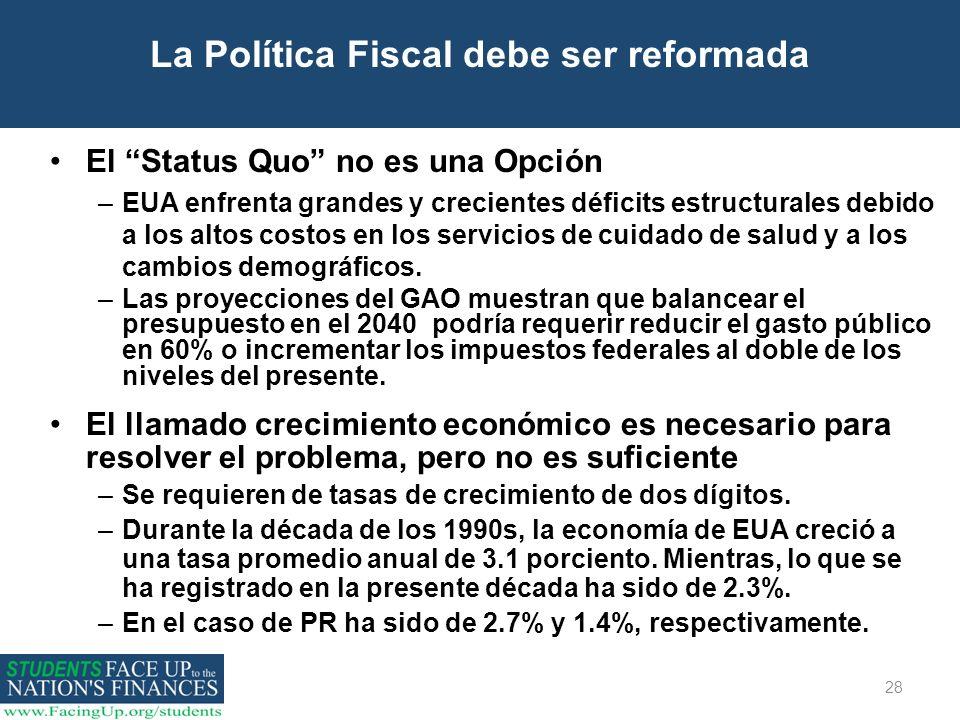 La Política Fiscal debe ser reformada