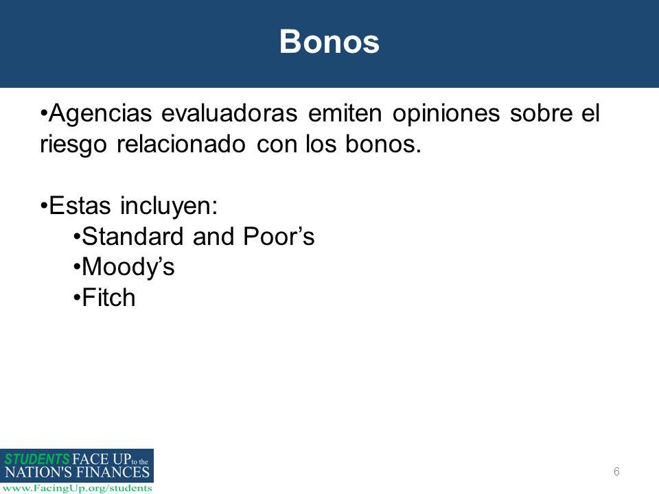 Bonos Agencias evaluadoras emiten opiniones sobre el riesgo relacionado con los bonos. Estas incluyen: