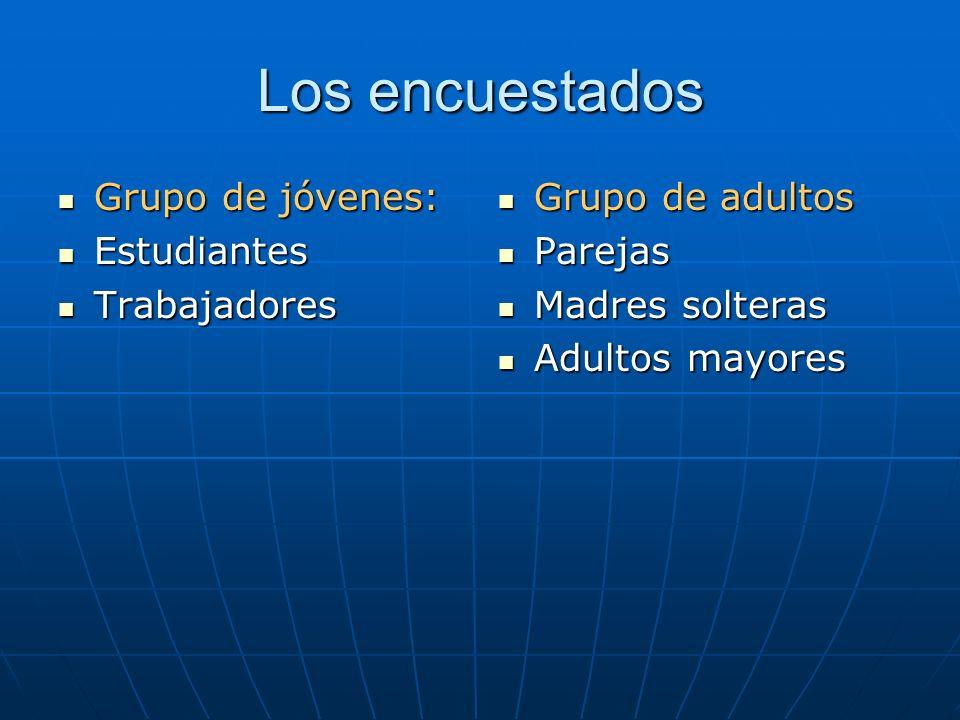 Los encuestados Grupo de jóvenes: Estudiantes Trabajadores