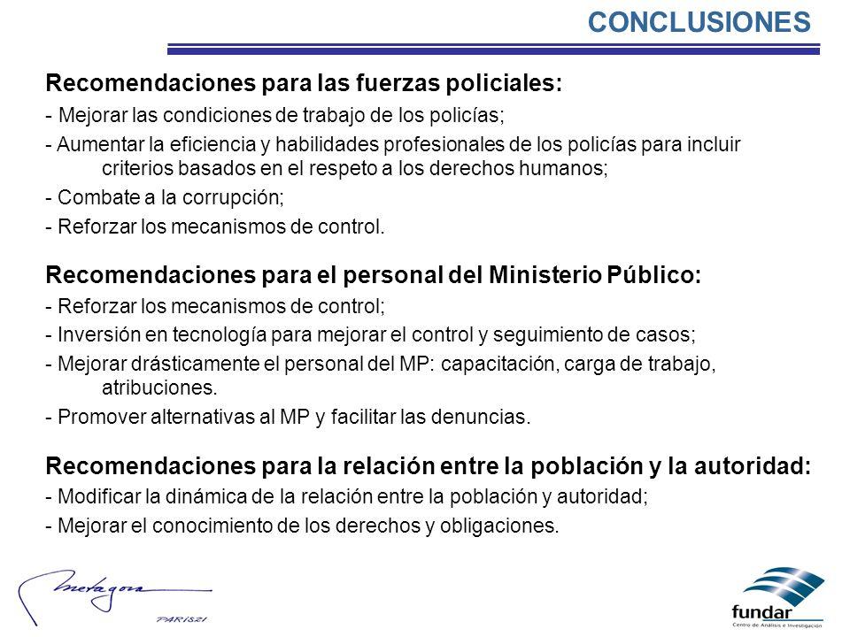 CONCLUSIONES Recomendaciones para las fuerzas policiales: