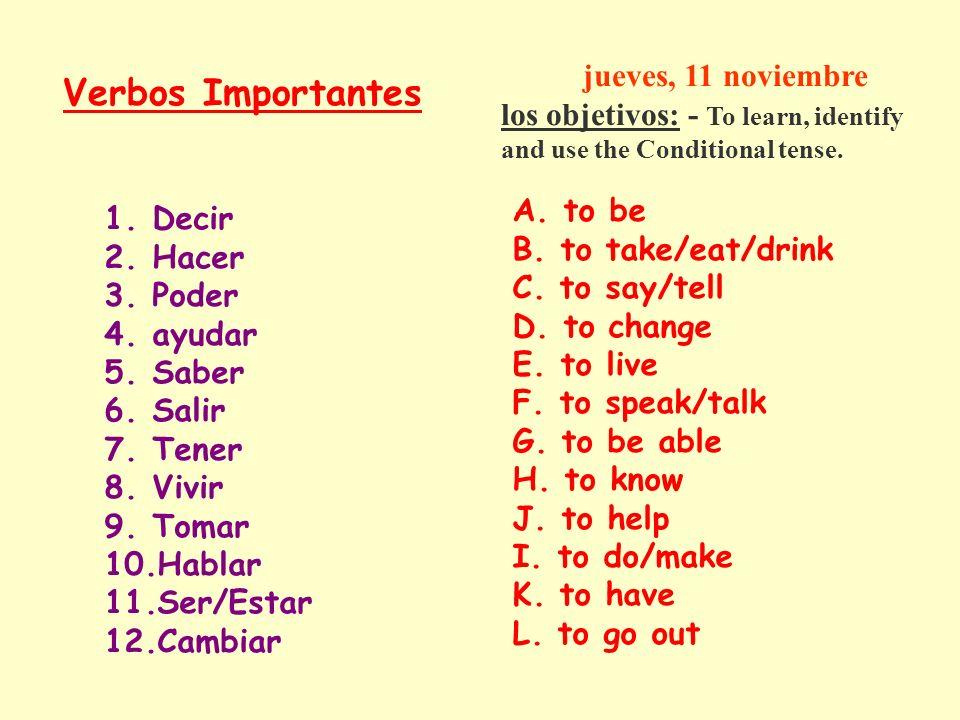 Verbos Importantes jueves, 11 noviembre