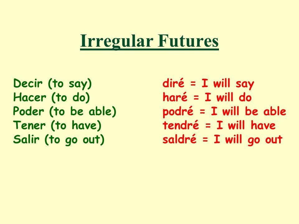 Irregular Futures Decir (to say) diré = I will say