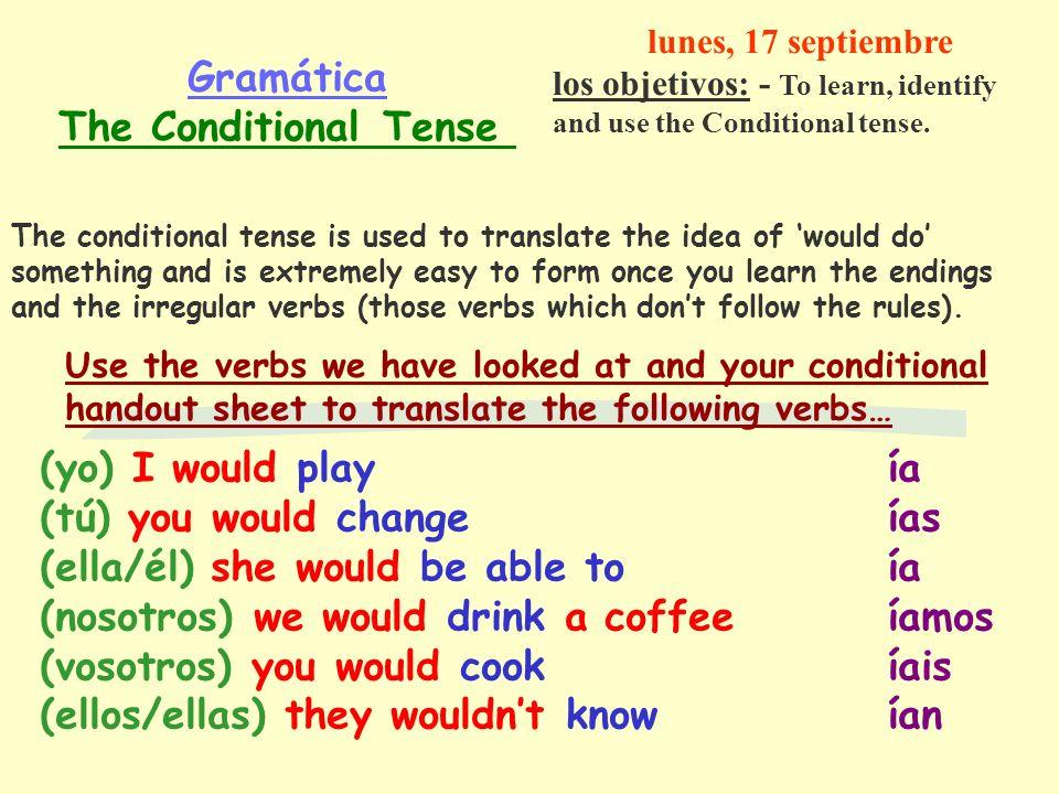 Gramática The Conditional Tense