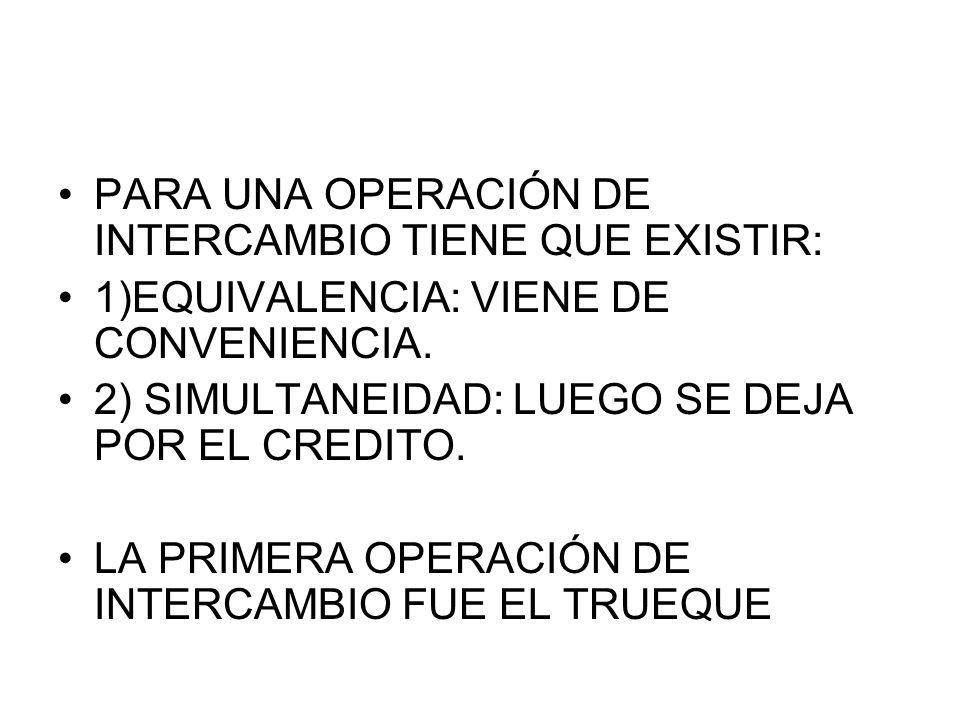 PARA UNA OPERACIÓN DE INTERCAMBIO TIENE QUE EXISTIR:
