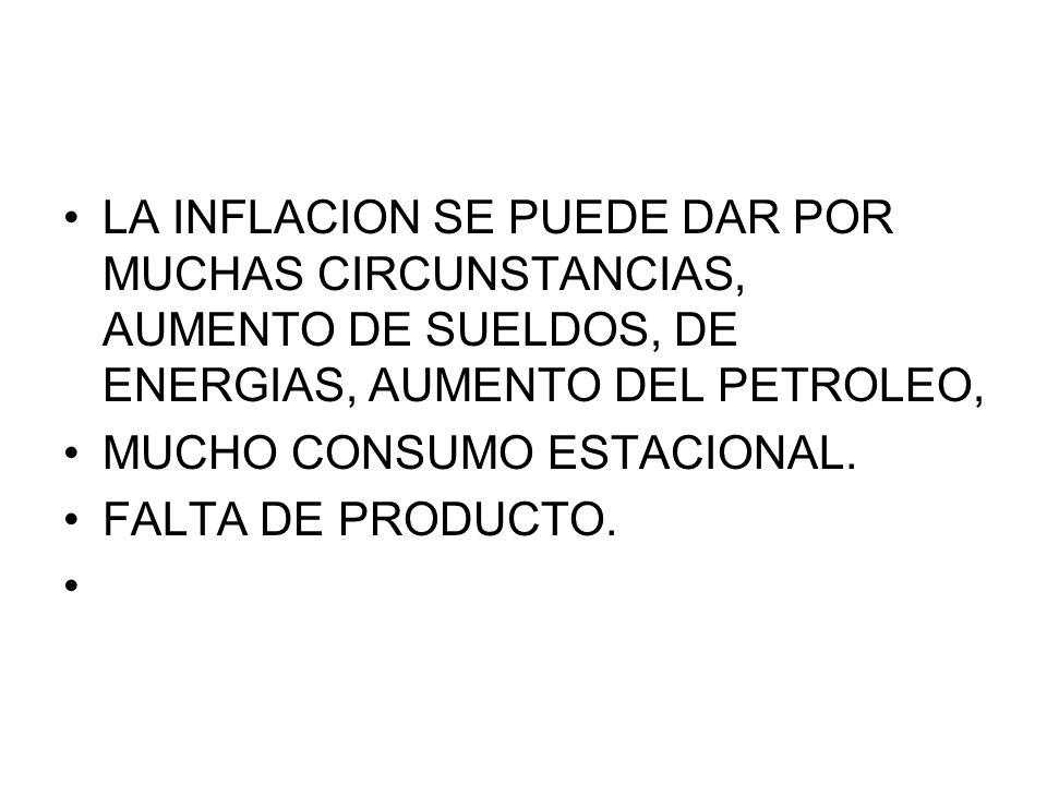 LA INFLACION SE PUEDE DAR POR MUCHAS CIRCUNSTANCIAS, AUMENTO DE SUELDOS, DE ENERGIAS, AUMENTO DEL PETROLEO,