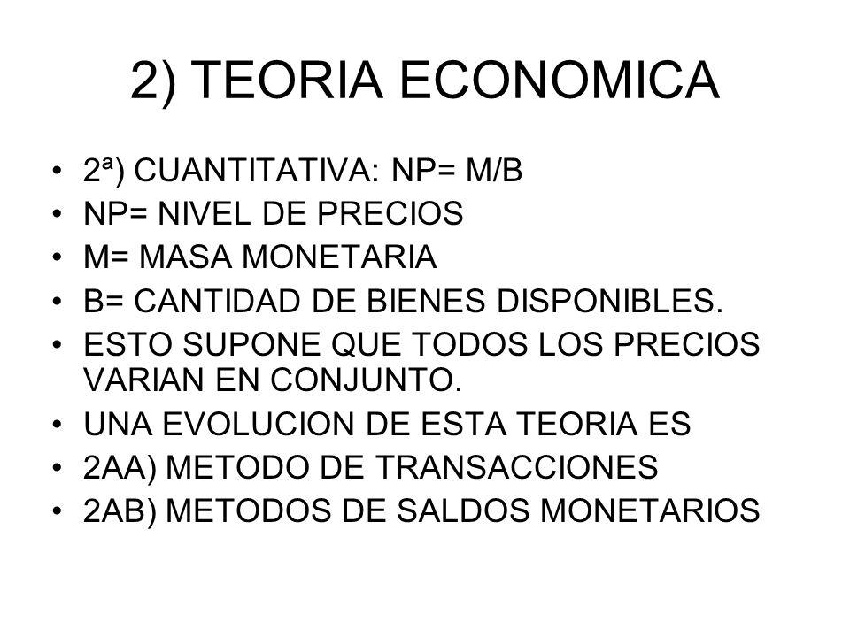 2) TEORIA ECONOMICA 2ª) CUANTITATIVA: NP= M/B NP= NIVEL DE PRECIOS
