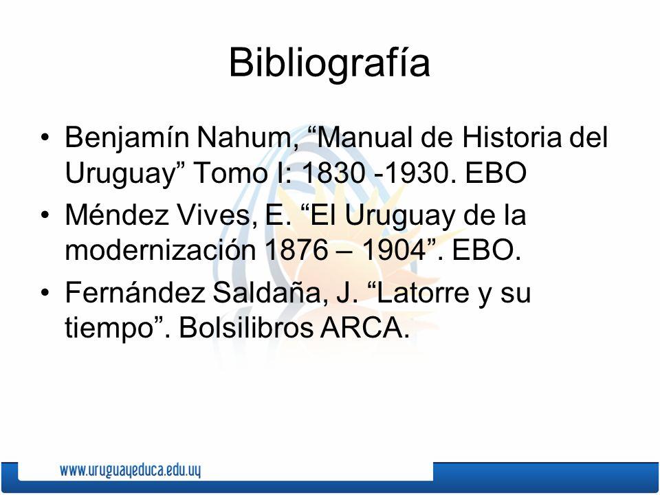 Bibliografía Benjamín Nahum, Manual de Historia del Uruguay Tomo I: 1830 -1930. EBO.