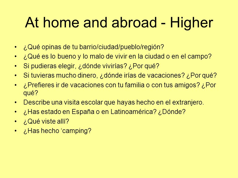 At home and abroad - Higher