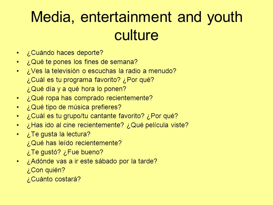 Media, entertainment and youth culture