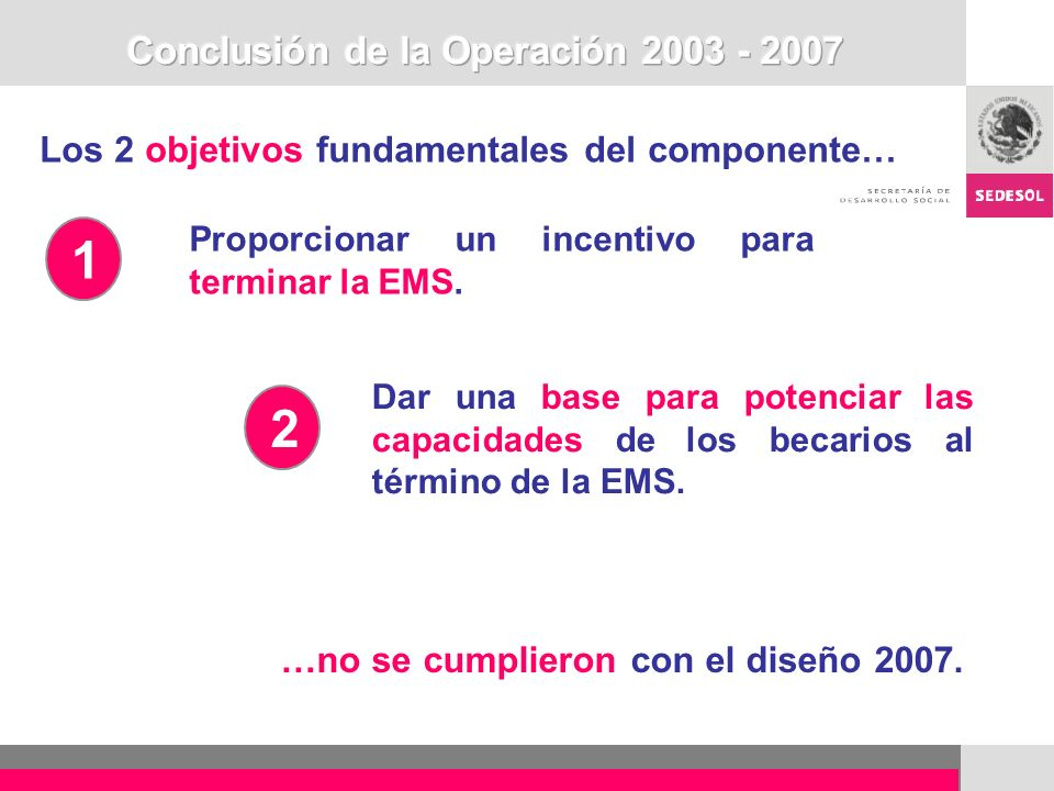 Conclusión de la Operación 2003 - 2007
