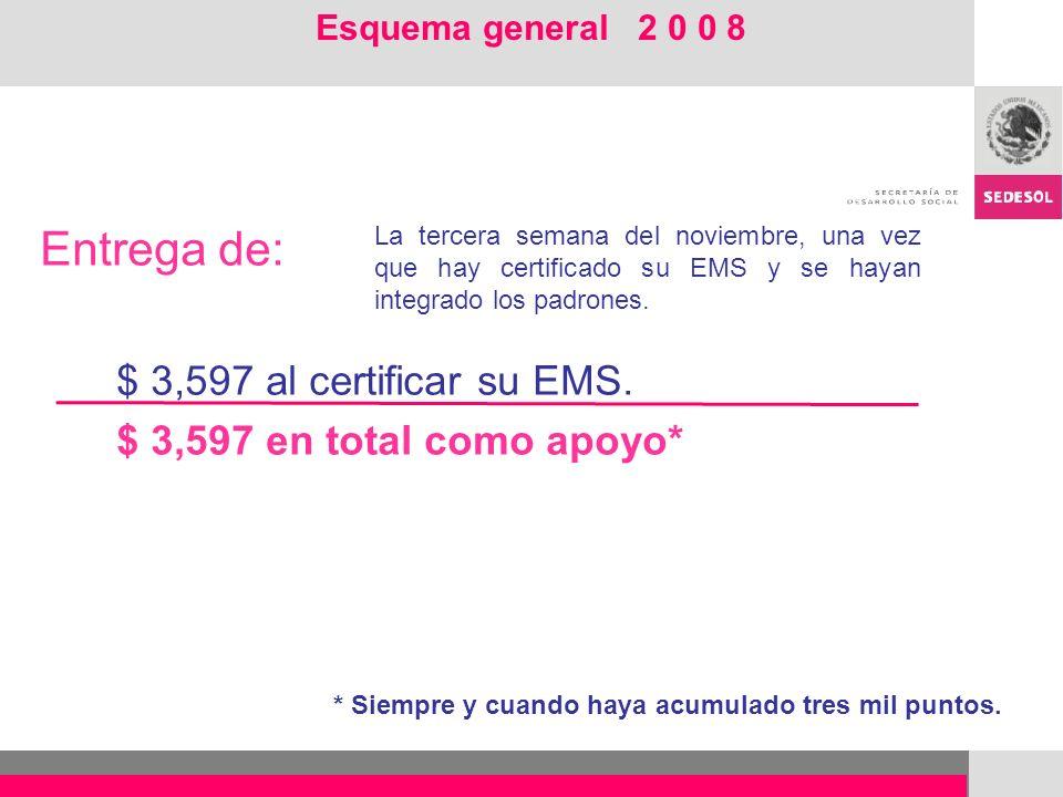 Entrega de: $ 3,597 al certificar su EMS. $ 3,597 en total como apoyo*