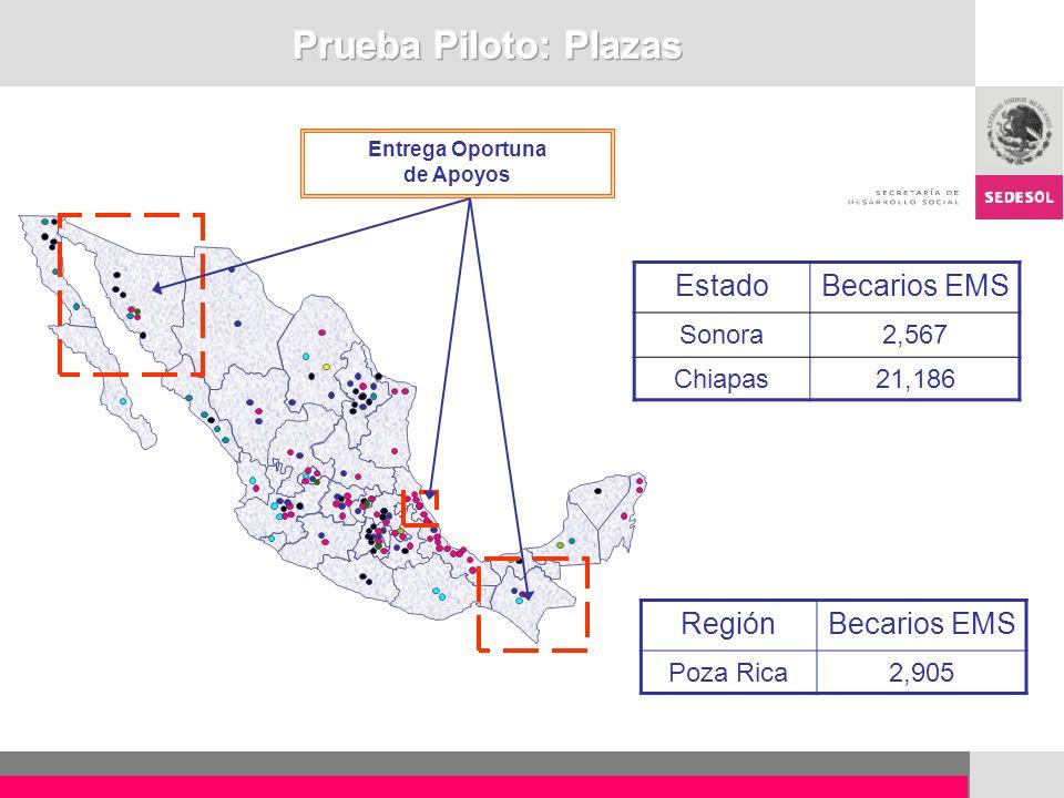 Prueba Piloto: Plazas Estado Becarios EMS Región Becarios EMS Sonora