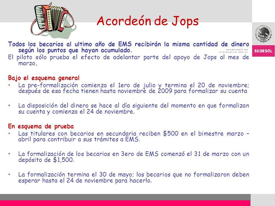 Acordeón de Jops Todos los becarios al ultimo año de EMS recibirán la misma cantidad de dinero según los puntos que hayan acumulado.
