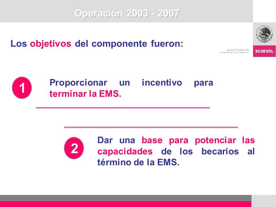 1 2 Operación 2003 - 2007 Los objetivos del componente fueron: