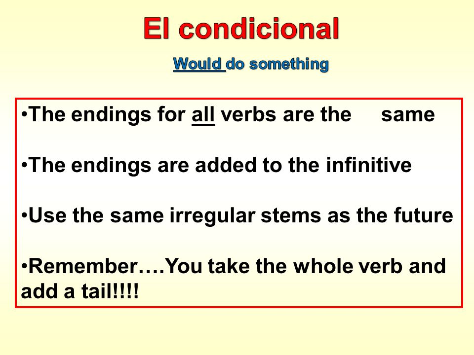 El condicional The endings for all verbs are the same