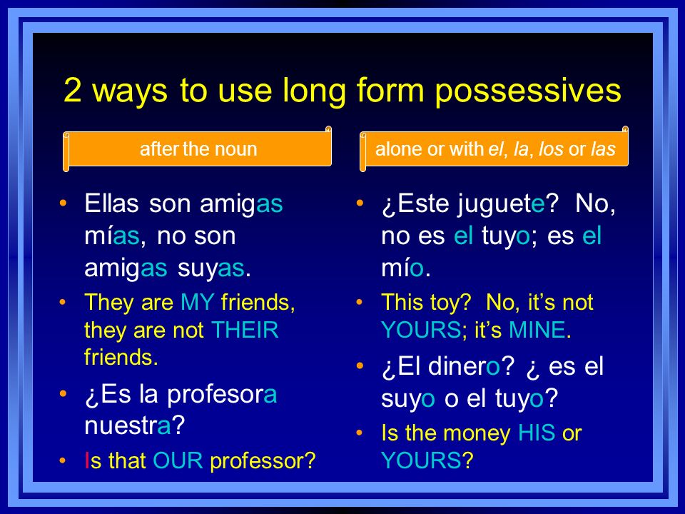 2 ways to use long form possessives