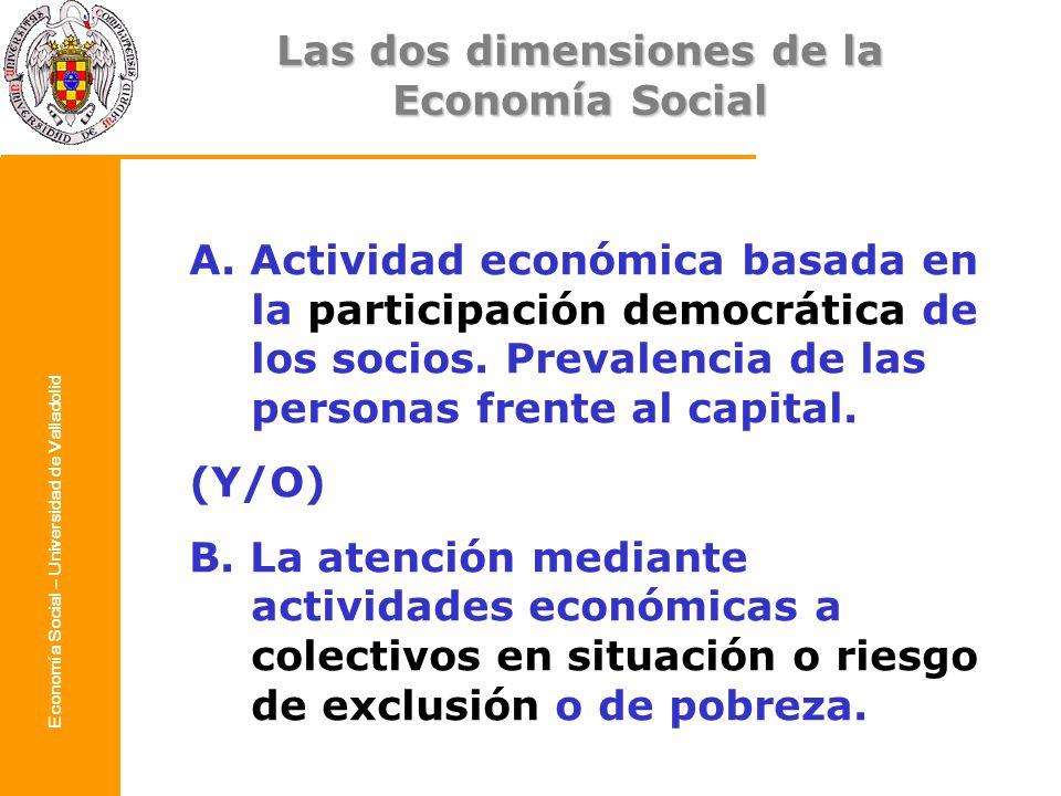 Las dos dimensiones de la Economía Social – Universidad de Valladolid