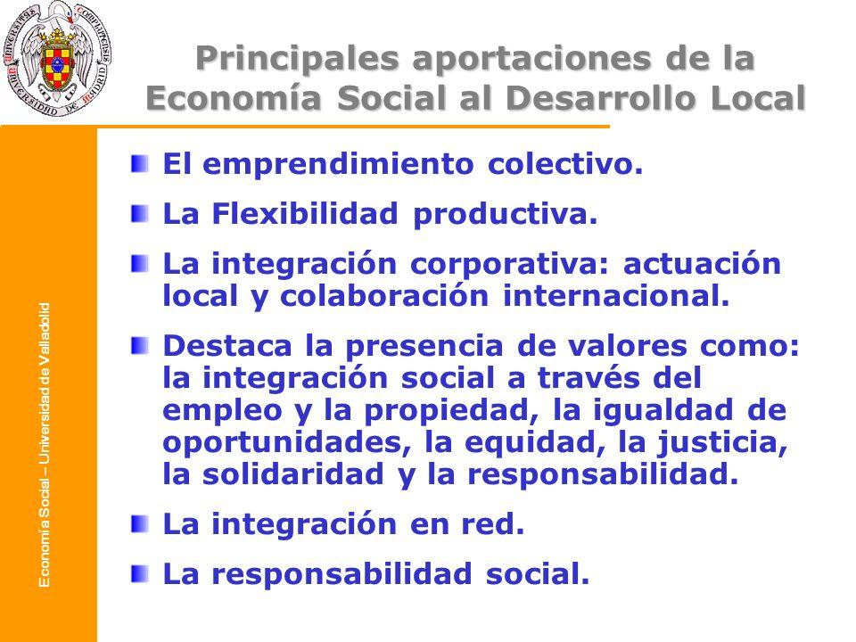 Principales aportaciones de la Economía Social al Desarrollo Local